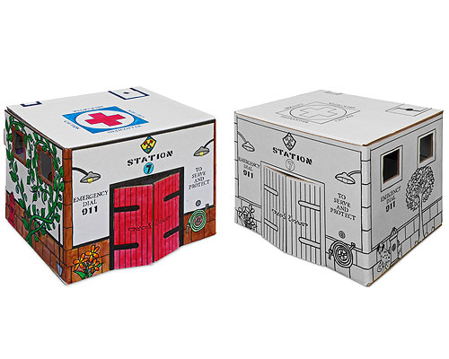 COLOR YOUR OWN CARDBOARD FIREHOUSE