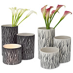 TALL GRASS LUMINARIES - SETS OF THREE | Tall Grass, Sea Grass,  Luminaries Set Of 3, Matte Finish, Neutral Colors, Black and White, Handmade, Vases | UncommonGoods