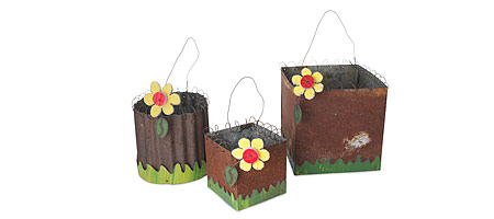 RECYCLED TIN PLANTERS | Reclaimed Tin Roof Planter, Round Flower Planter, Square Tin Planter | UncommonGoods :  flower plant on a hot tin roof tin pot