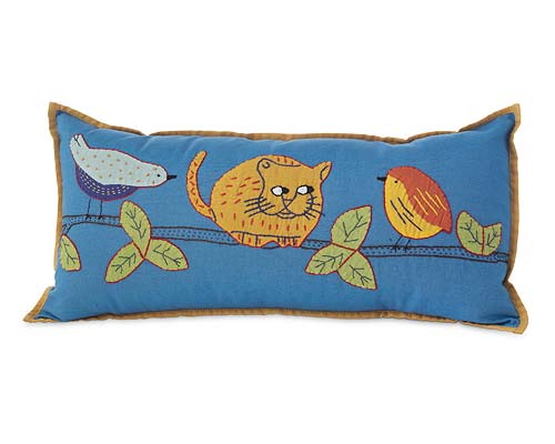 CAT WITH BIRDS PILLOW