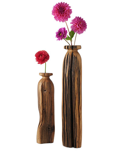 CHESTNUT WOOD VASES