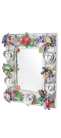 LARGE RECYCLED TIN MIRROR | Tin Daisy and Hearts Mirrors, Mexican Folk Art, Mexico Mirrors | UncommonGoods