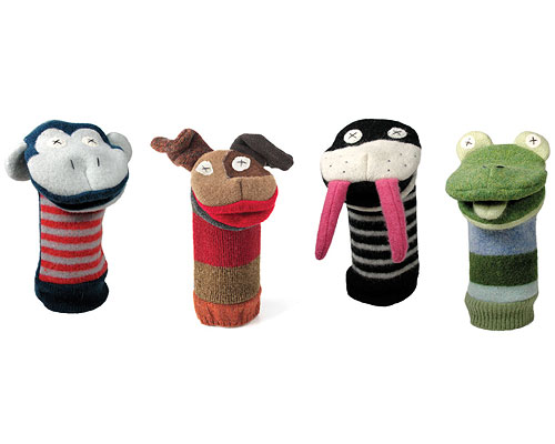 RECLAIMED WOOL ANIMAL PUPPETS