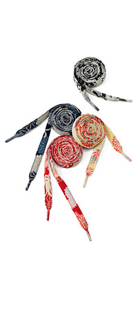 RECLAIMED KIMONO SHOELACES | Vintage, Recycled, Kimonos, Fabric, Shoe Laces, Sneakers, Tennis Shoes, Japanese, Modern, Tradition | UncommonGoods :  kimono oriental quirky accessory