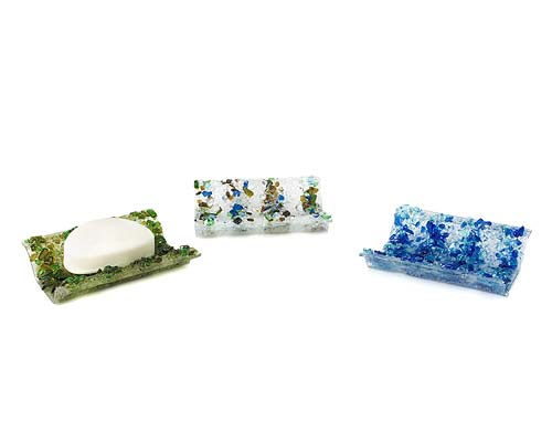 RECYCLED GLASS SOAP DISHES
