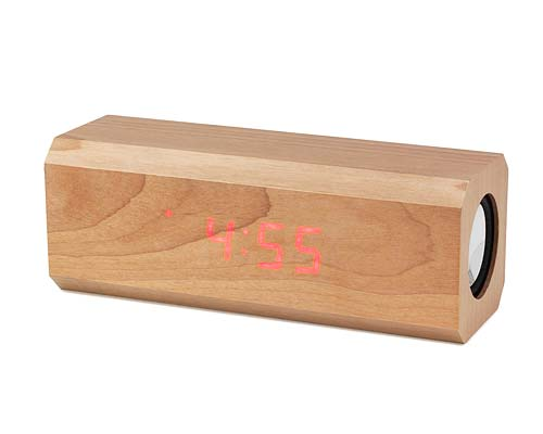 LED WOODEN ALARM CLOCK/SPEAKERS