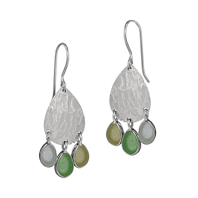 SEA GLASS HAMMERED DISC EARRINGS