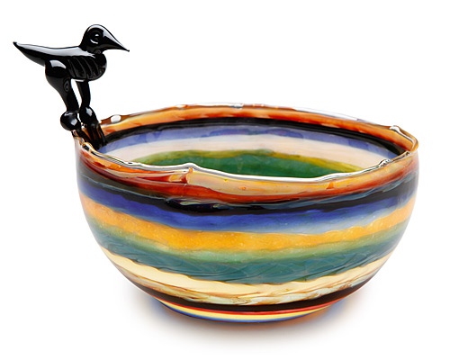 BLACK CROW STRIPED BOWL