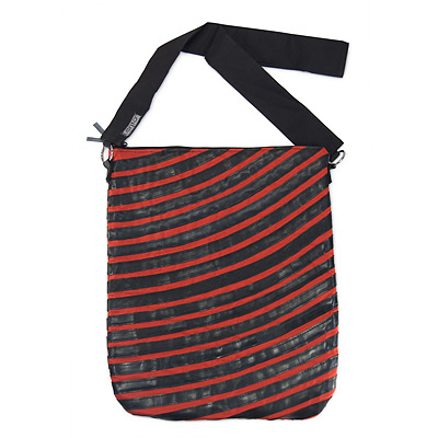 BIKE TUBE STRIPED MESSENGER BAG