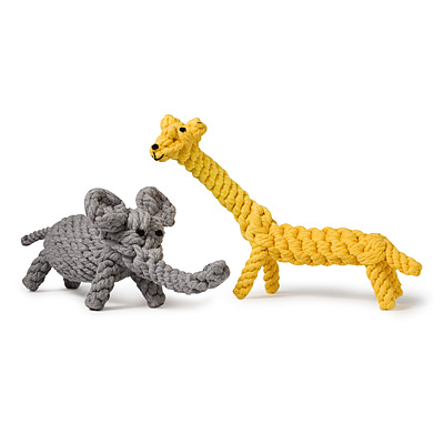 JERRY GIRAFFE AND COCO ELEPHANT CHEW TOYS