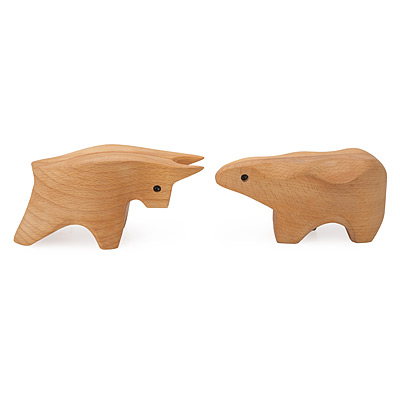 BULL AND BEAR WOODEN BOXES