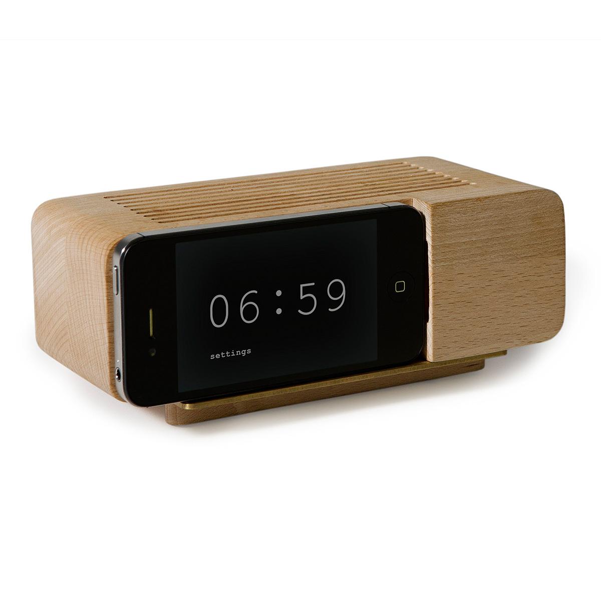 IPHONE ALARM DOCK | Wood Alarm Clock, Areaware | UncommonGoods: http://www.uncommongoods.com/product/iphone-alarm-dock
