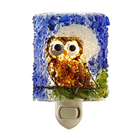 RECYCLED GLASS NIGHT OWL NIGHT LIGHT