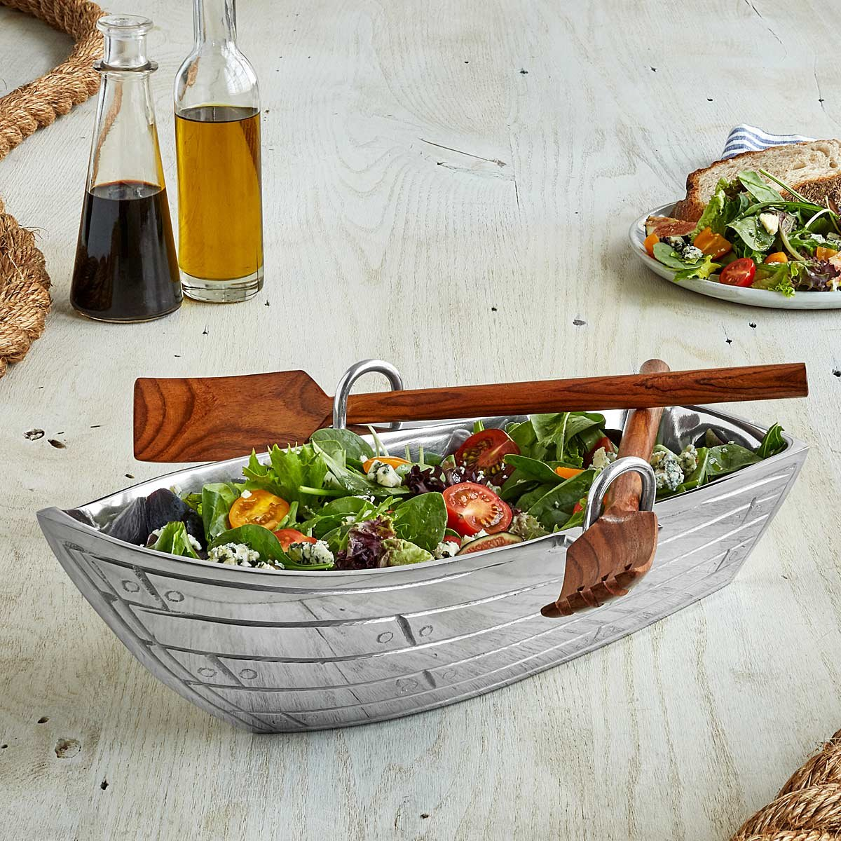 ROW BOAT SERVING BOWL WITH WOOD UTENSILS Serving Platter