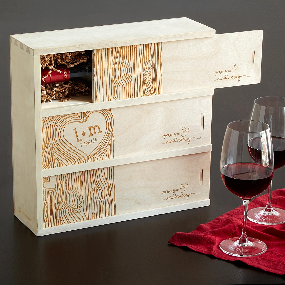 Personalised Wedding Gifts Wine : ANNIVERSARY WINE BOX Personalized Wedding Wine Box UncommonGoods