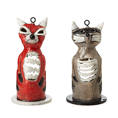 RACCOON AND FOX TEA LIGHT HOLDERS