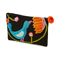 EMBROIDERED BIRD POUCH
