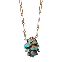 Blue Pinecone Necklace