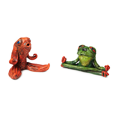 CONNECTED KOI AND TRANQUIL TREE FROG SCULPTURES