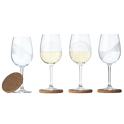 OP ART WINE GLASSES AND COASTERS