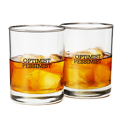 OPTIMIST/PESSIMIST GLASSES - SET OF 2