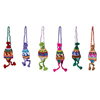 Peruvian Knit Hat Ornaments - Set of 6