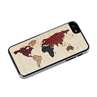 WORLD MAP INLAY WOODEN IPHONE CASE