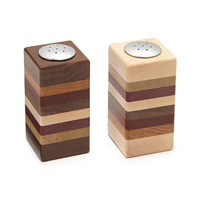 LAYERED WOODEN SALT AND PEPPER SHAKER SET