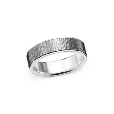 WOODGRAIN TITANIUM WEDDING BAND - FOR HER