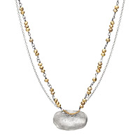 Hammered Oval with Pyrite Necklace