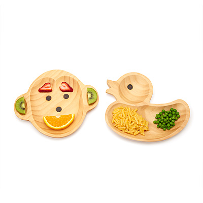 WOODEN PLATES - MONKEY OR DUCK