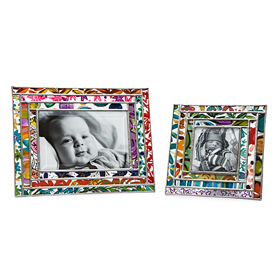 GEOMETRIC STAINED GLASS PICTURE FRAME