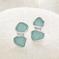 2 Stone Sea Glass Stud Earrings