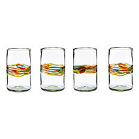 Rainbow Band Recycled Glasses -Set of 4