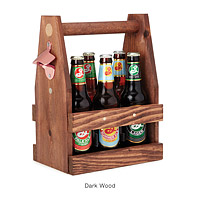 WOODEN BEER TOTE WITH BOTTLE OPENER