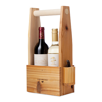 WOODEN WINE TOTE WITH CORKSCREW