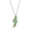 Enameled Silver Leaf Necklace