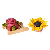 Rose and Sunflower Felted Soaps - set of 2