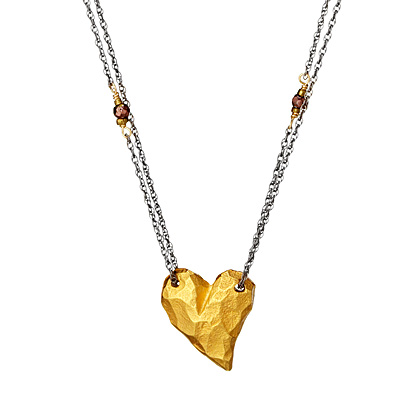 CHUNKY GOLD HEART NECKLACE