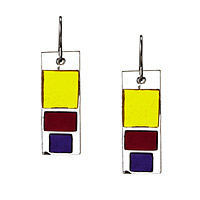 Triple Block Glass Earrings