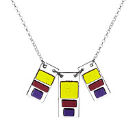 Triple block glass pendant