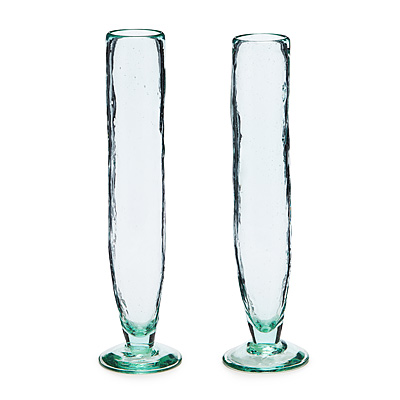 RECYCLED GLASS CHAMPAGNE FLUTES - SET OF 2