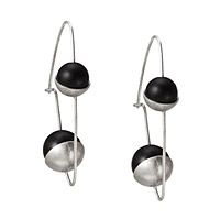 TWO BLACK BEADS AND STERLING SILVER EARRINGS
