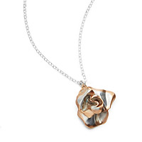Two Tone Rose Gold Rose Necklace