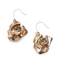 TWO TONE ROSE GOLD ROSE EARRINGS