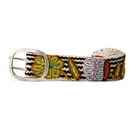 Embroidered Striped Floral Belt