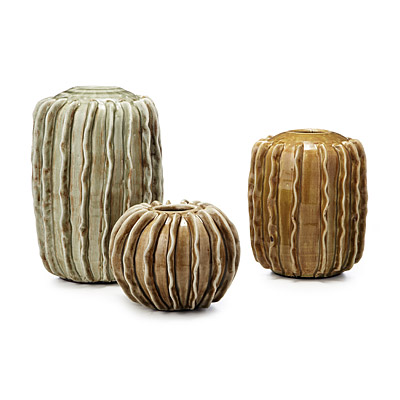 CERAMIC CACTUS VASES - SET OF 3
