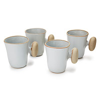 Ceramic Stone Handle Mugs - Set of 4