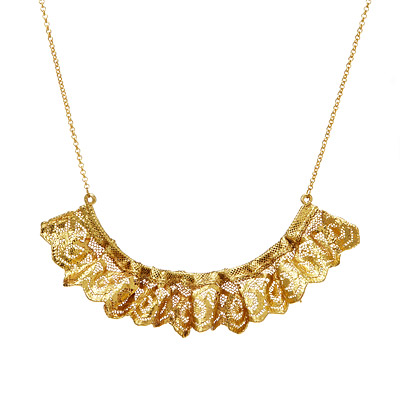 RUFFLED GOLD DIPPED LACE STATEMENT NECKLACE