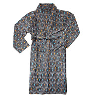 Mens Cotton Ikat Wrap Robe